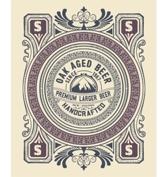 Vintage label design for beer and Wine label vector image