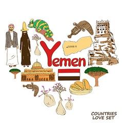 Yemen symbols in heart shape concept vector