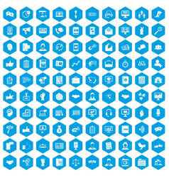 100 dialog icons set blue vector
