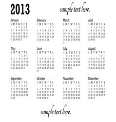 generic 2013 calendar landscape vector image