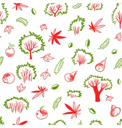 Autumn seamless pattern with trees and plants vector