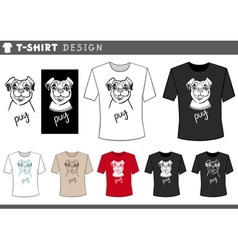 t shirt design with pug dog vector image