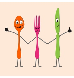 Spoon knife and fork cartoon vector image