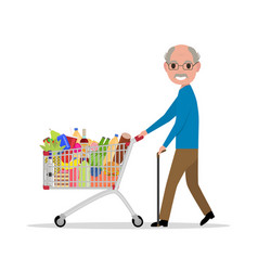 Cartoon old man with a shopping trolley vector