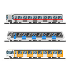 Flat style set of metro trains vector