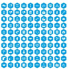 100 dialog icons set blue vector