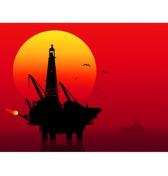 Oil refinery at sunset vector