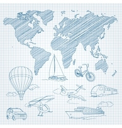 Travel transport and world map line sketch on page vector