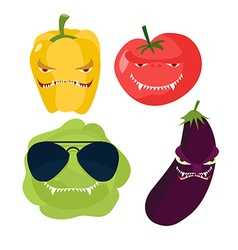 Scary vegetables cabbage in glasses horrible vector