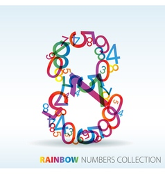rainbow number eight vector image