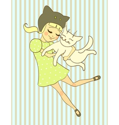 girl holds cat vector image