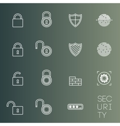 Security icons thin lines styled vector