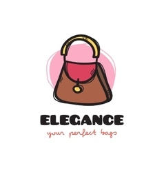 Cute woman bag sketchy logo bags shop vector