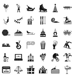Amusement icons set simple style vector