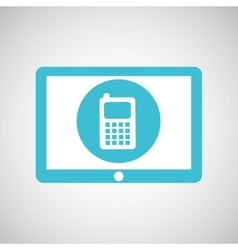 Blue tablet cartoon cellphone design vector