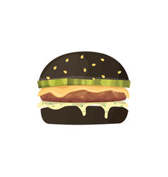 burger cartoon fast food black vector image
