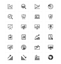 Business graphs and charts icons vector