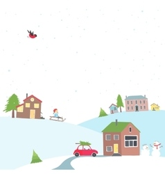 Card with a view of the snow-covered village vector image vector image