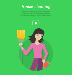 Cleaning service ad card banner poster fier vector