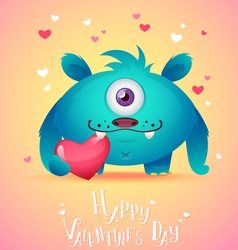 Cute cartoon monster in love holding a pink heart vector image