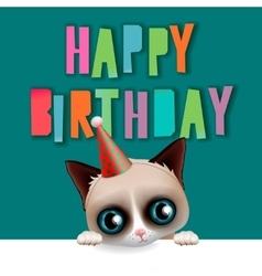 Cute happy birthday card with fun cat vector image