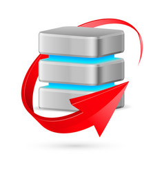 Database icon with update symbol - red curved vector