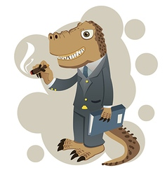 Dino businessman vector