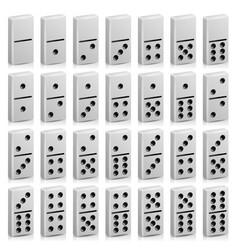 Domino set realistic 3d white vector