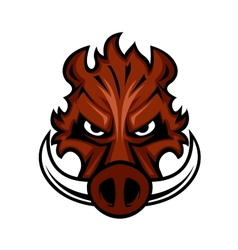 Fierce angry wild boar head vector