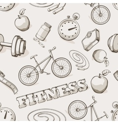 Fitness seamless vintage pattern vector image vector image