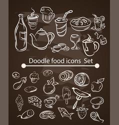 Food menu elements on chalk board set vector