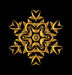 gold mandala on black background vector image