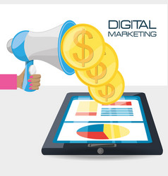 Hand and megaphone related with digital marketing vector