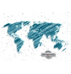 hand drawn blue world map on a white background vector image vector image
