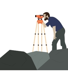 Male surveyor on a rock vector