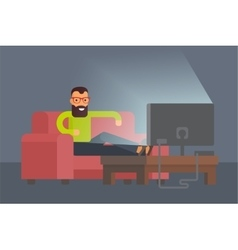 Man sitting on sofa watching tv at home flat vector