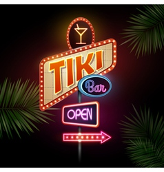 Neon sign Tiki bar vector image