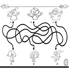 paths maze with clowns coloring book vector image