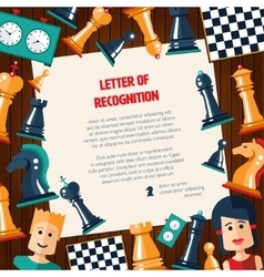 Postcard with flat design chess and players icons vector