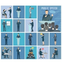 Public speaking flat icons set vector