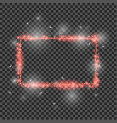 red glitter frame with lights effects good vector image vector image