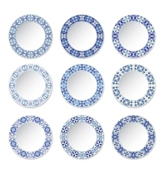 Set of decorative plates vector image vector image