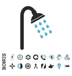 Shower Flat Icon With Bonus vector image
