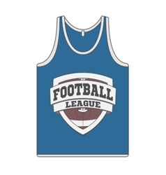 Sleeveless blue shirt with football label vector