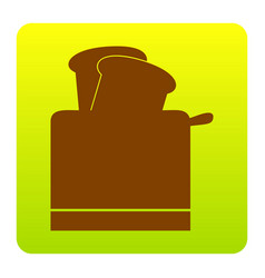Toaster simple sign brown icon at green vector