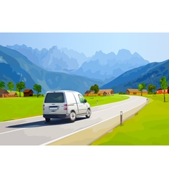 White car traveling on alps vector