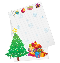 xmas tree gift boxes and paper note vector image