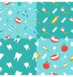Healthy Teeth Dental Seamless Pattern Set vector image