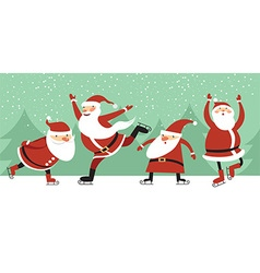 Santa Clauses on ice rink vector image