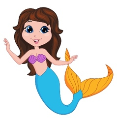 Cute mermaid cartoon vector